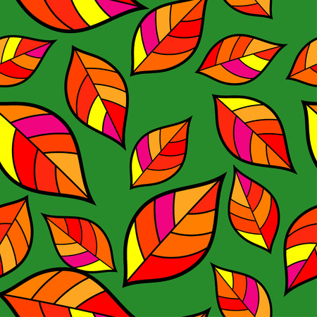 indian summer: Seamless autumn background with decorative colorful leaves