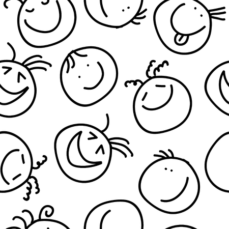 chuckle: Seamless decorative background with painted smiles Illustration