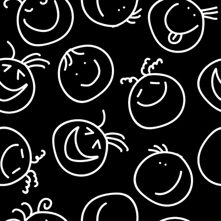 smirk: Seamless decorative background with painted smiles Illustration