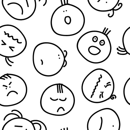 leer: Seamless decorative background with painted smiles Illustration