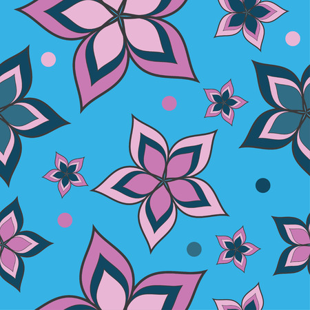 uninterrupted: Seamless vector background with decorative flowers and polka dots Illustration