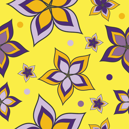 Seamless vector background with decorative flowers and polka dots Illustration
