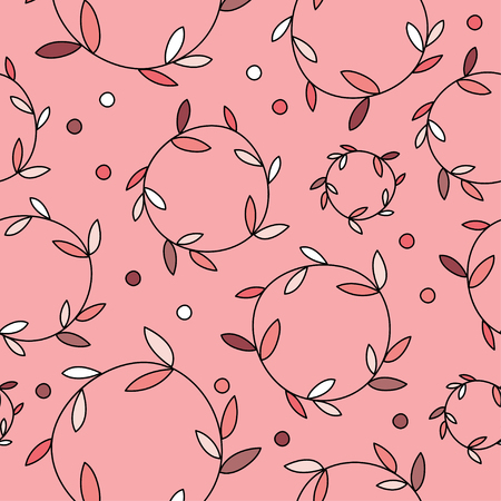 Seamless vector background with decorative branche, leaves and polka dots