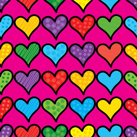 amorousness: Seamless vector background with decorative hearts and polka dots
