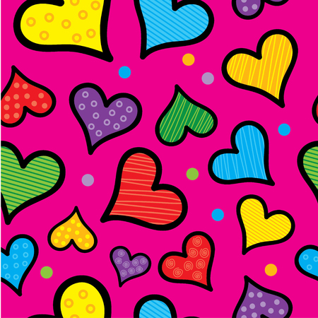 charmingly: Seamless vector background with decorative hearts and polka dots