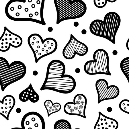 nicely: Seamless vector background with decorative hearts and polka dots