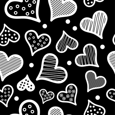 darling: Seamless vector background with decorative hearts and polka dots