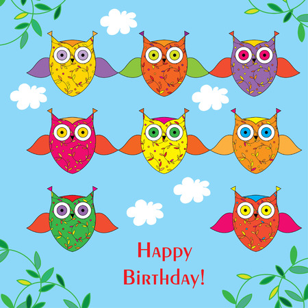 Greeting card with decorative owls Happy Birthday! Vetores