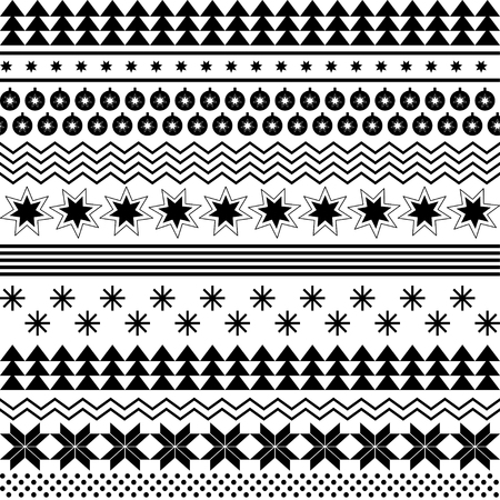 Vector black and white seamless winter Christmas and New Year background