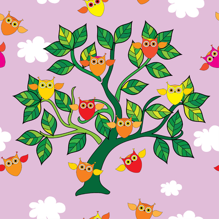 feathery: Seamless decorative vector background with owls on the tree Illustration