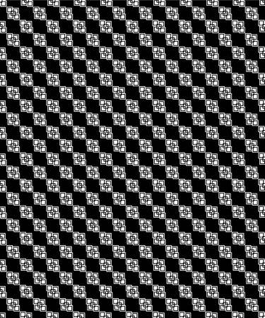 Seamless black and white decorative vector background with geometric shapes