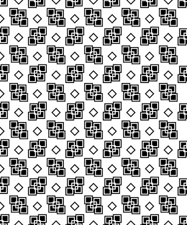 succession: Seamless black and white decorative vector background with geometric shapes