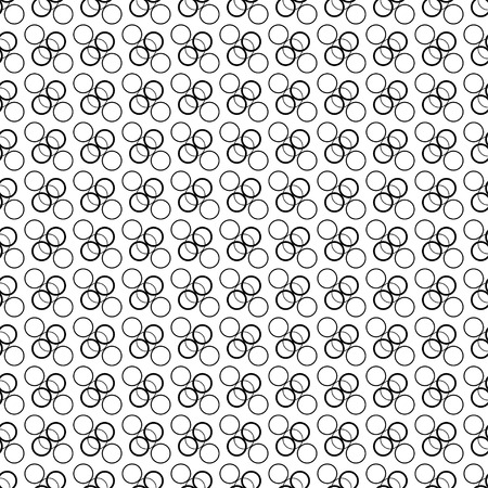 trait: Seamless black and white decorative vector background with circles