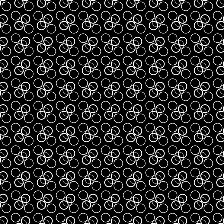 circumference: Seamless black and white decorative vector background with circles