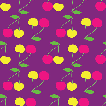 uninterrupted: Seamless vector background with decorative cherries Illustration