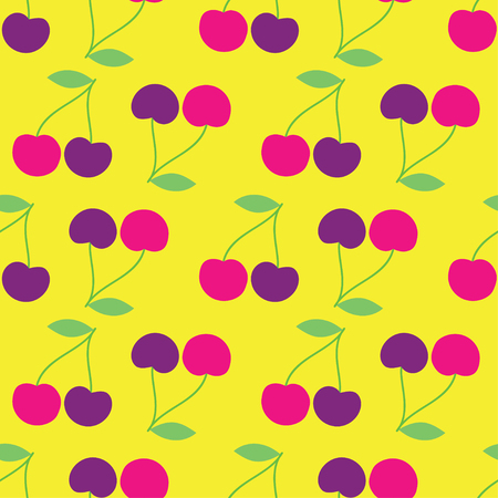 unobstructed: Seamless vector background with decorative cherries Illustration