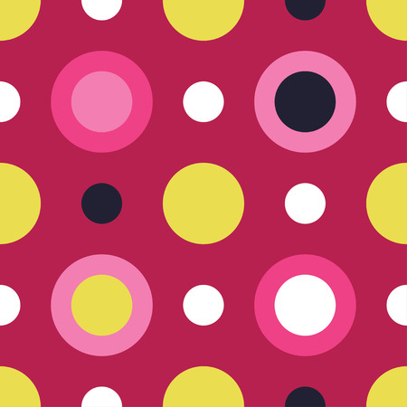 unhindered: Seamless vector decorative background with circles, buttons and polka dots Illustration