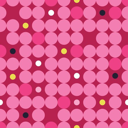 unobstructed: Seamless vector decorative background with circles, buttons and polka dots Illustration