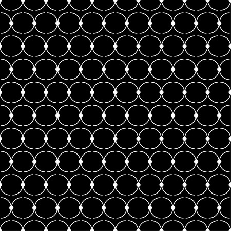trait: Seamless black and white decorative vector background with lines and polka dots Illustration