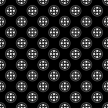 abstract figures: Seamless black and white decorative vector background with abstract figures