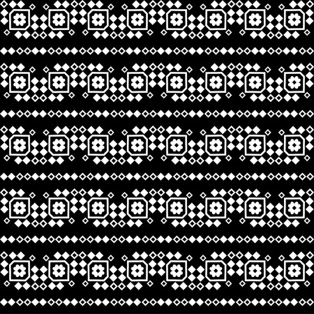 uninterrupted: Seamless black and white vector background with decorative flowers