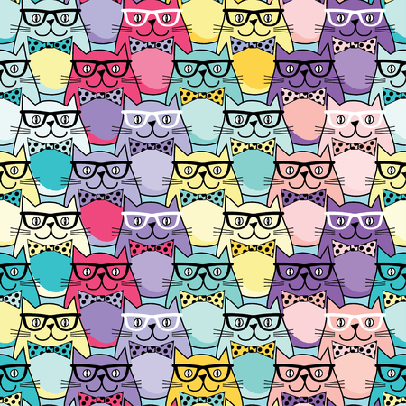 catnip: Seamless vector background with decorative cats in glasses