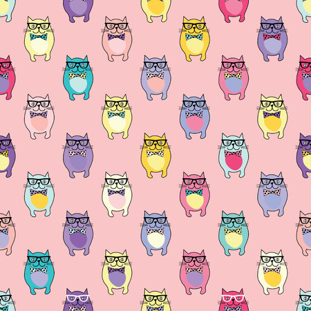 Seamless vector background with decorative cats in glasses