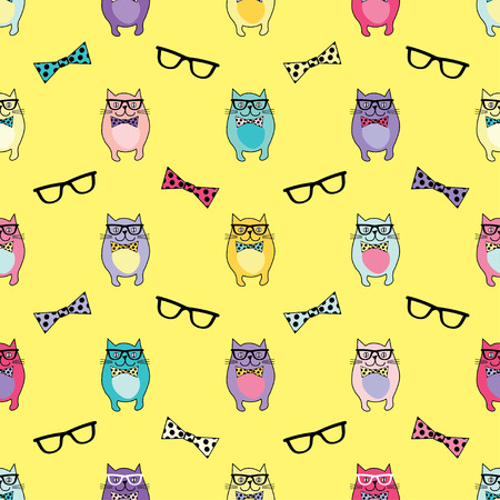 coherent: Seamless vector background with decorative cats in glasses
