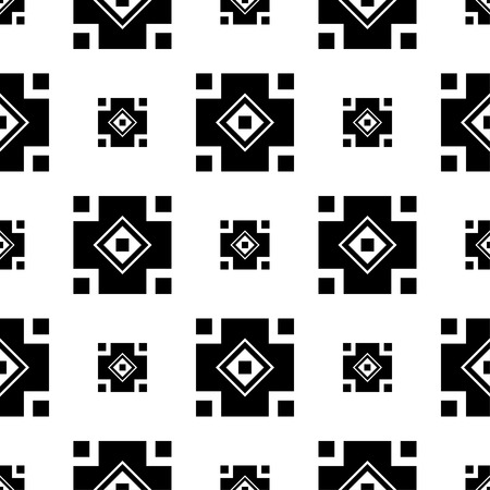 figuras abstractas: Seamless black and white decorative background with abstract figures