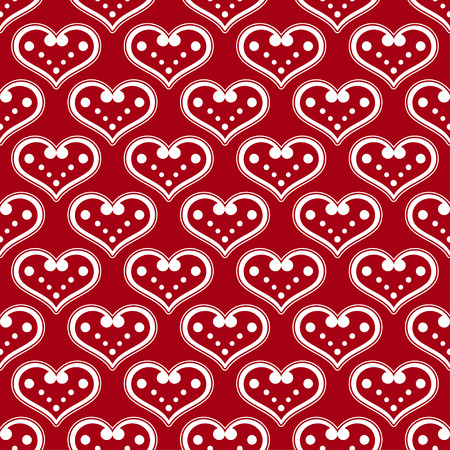 unhindered: Seamless background with decorative hearts and polka dots Illustration