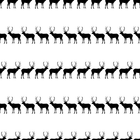 fallow: Seamless black and white decorative vector background with decorative deer