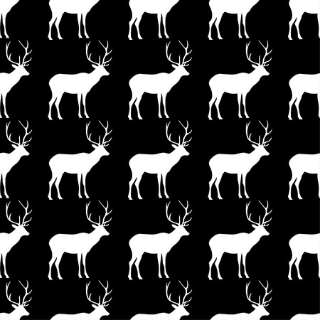 fallow deer: Seamless black and white decorative vector background with decorative deer