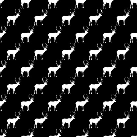 Seamless black and white decorative vector background with decorative deer