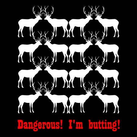 Poster with decorative deer Dangerous! I'm butting!