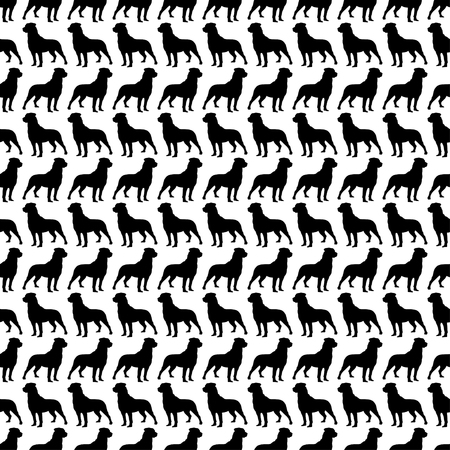 harsh: Seamless black and white decorative vector background with decorative dogs