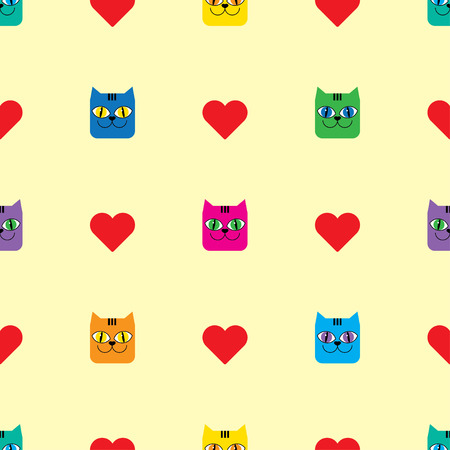 uninterrupted: Seamless vector background with decorative cats and hearts