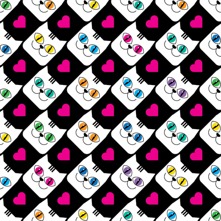 Seamless vector background with decorative cats and hearts