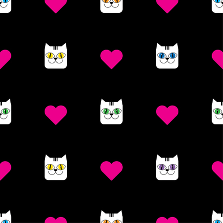 unobstructed: Seamless vector background with decorative cats and hearts
