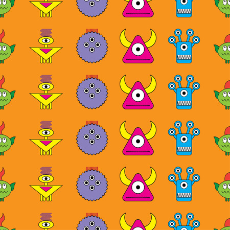 fiend: Seamless vector background with decorative colorful monsters
