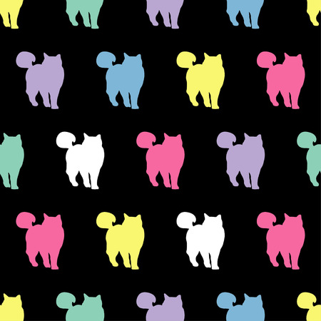 Seamless vector background with decorative cats in the style of pop art Illustration