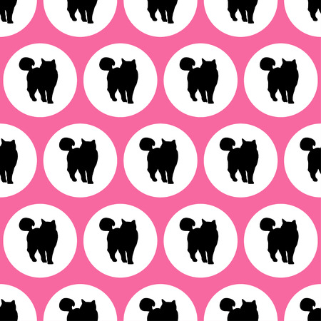 uninterrupted: Seamless vector background with decorative cats in the style of pop art Illustration