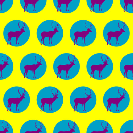 Seamless vector background with decorative reindeer in the style of Pop Art