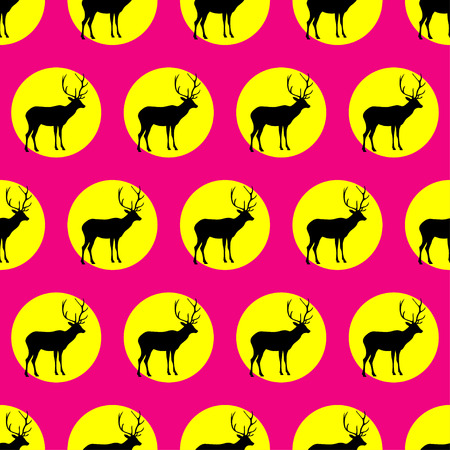 fallow: Seamless vector background with decorative reindeer in the style of Pop Art