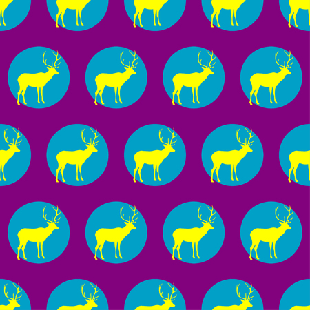 fallow deer: Seamless vector background with decorative reindeer in the style of Pop Art