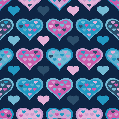 double exposure: Seamless vector background with decorative hearts and double exposure