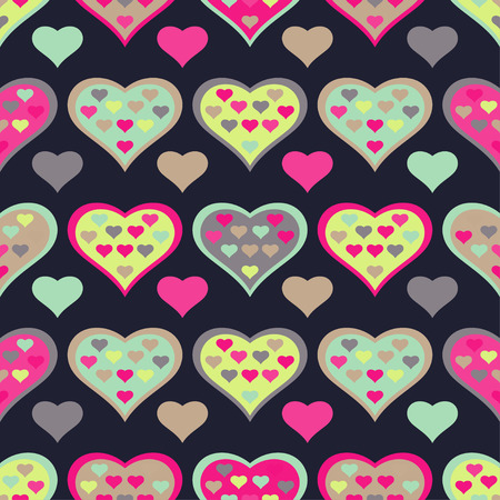 amorous: Seamless vector background with decorative hearts and double exposure