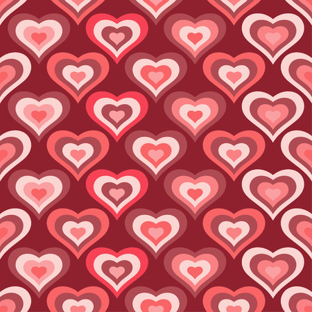 Seamless vector background with decorative hearts Illustration