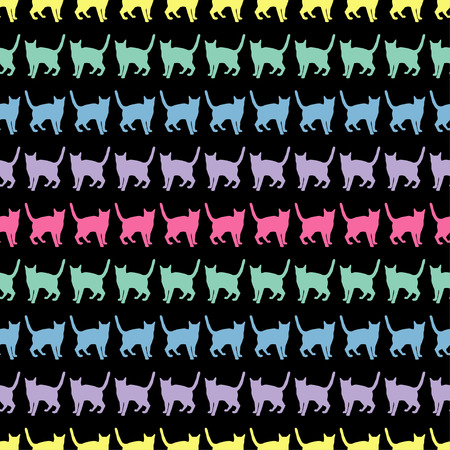 catnip: Seamless vector background with decorative cats