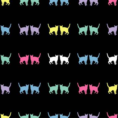 Seamless vector background with decorative cats