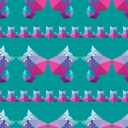 puss: Seamless vector background with decorative polygonal cats